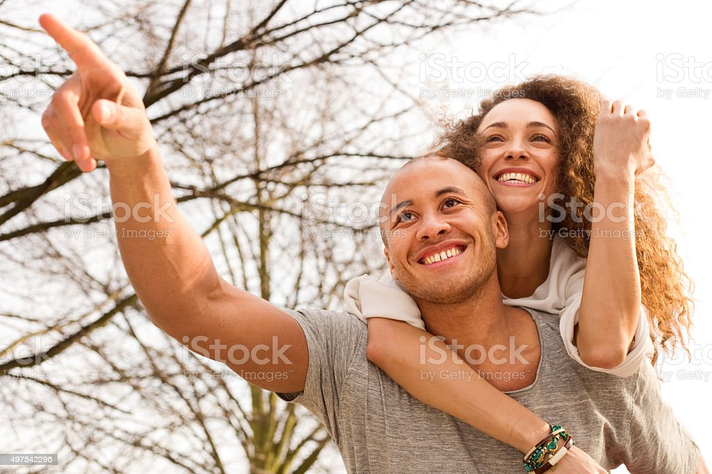 couple having fun in the park royalty-free stock photo
