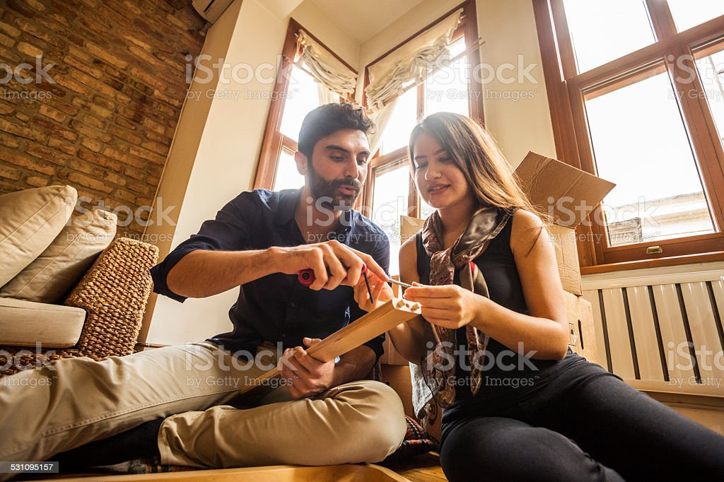 Couple Having Fun Moving In and Assembling Furniture stock photo