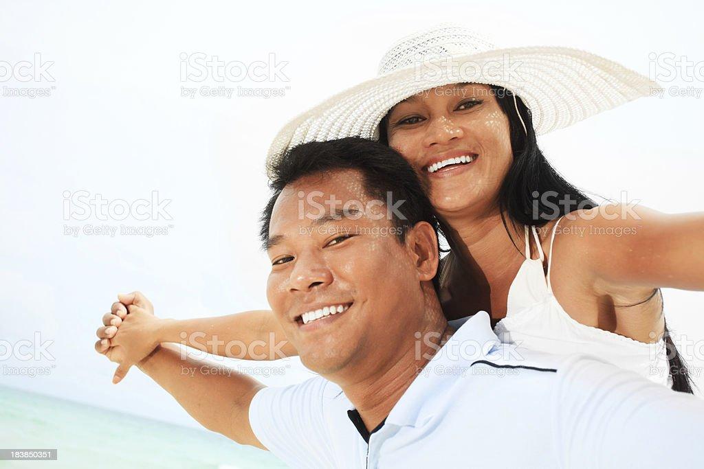 Couple having fun on the beach. royalty-free stock photo