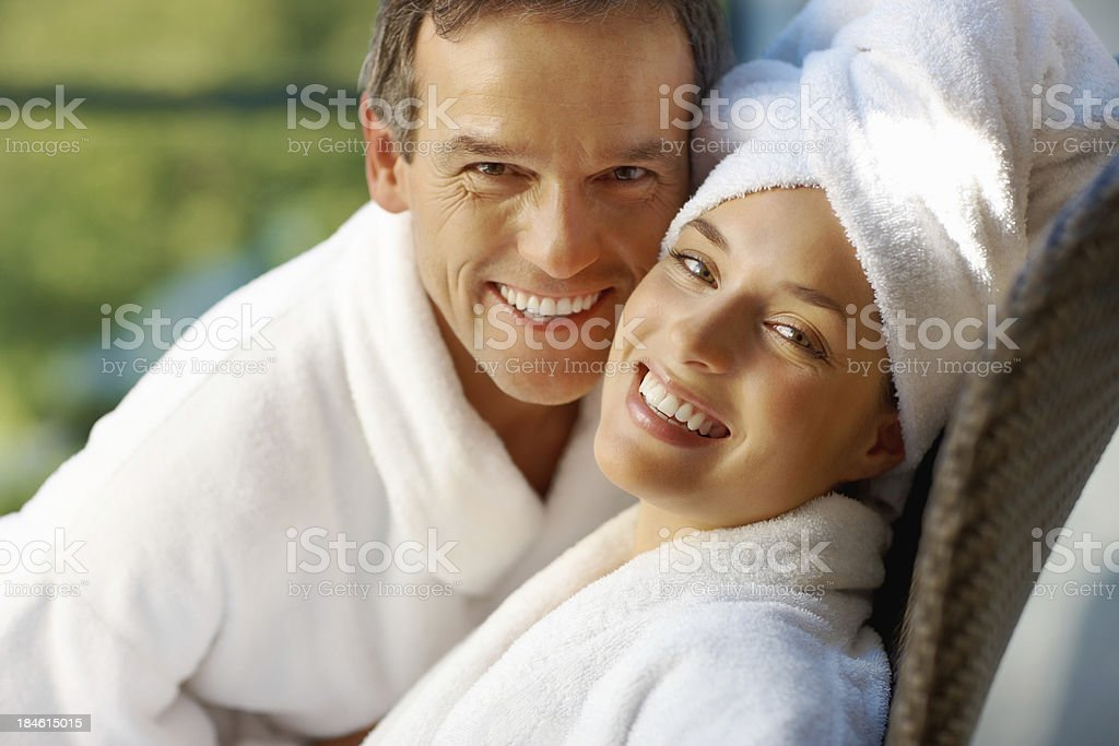 Couple having great time together at spa royalty-free stock photo