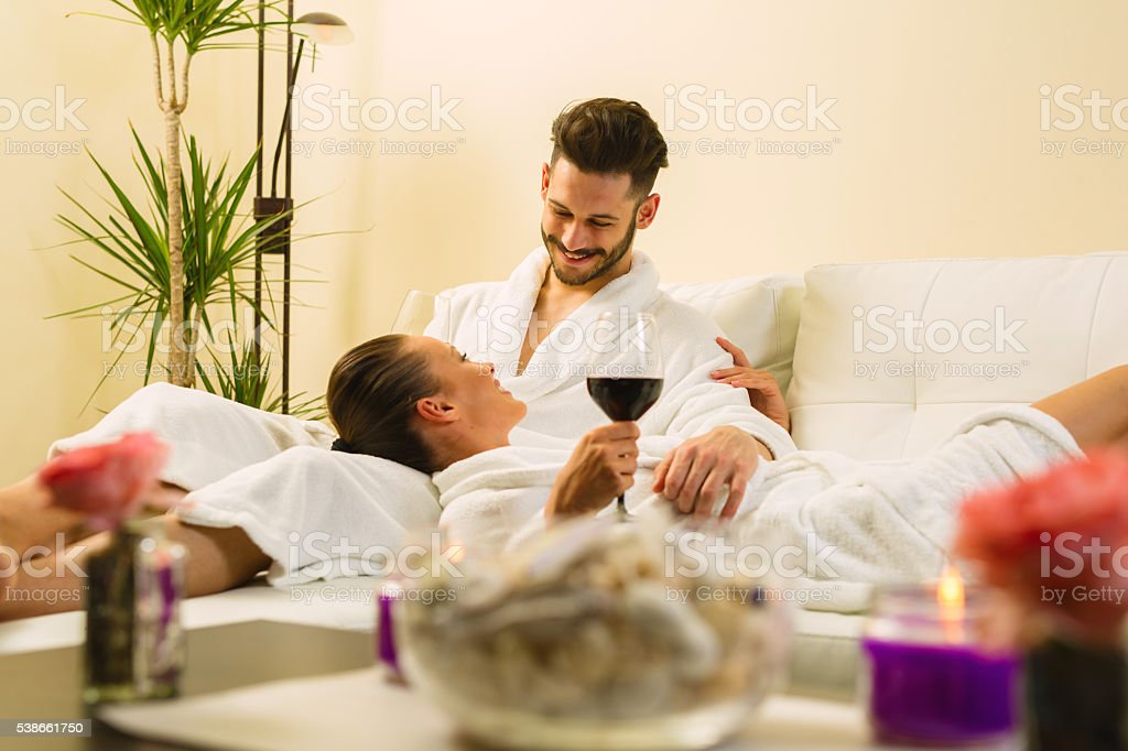 Couple having great time together at spa. stock photo