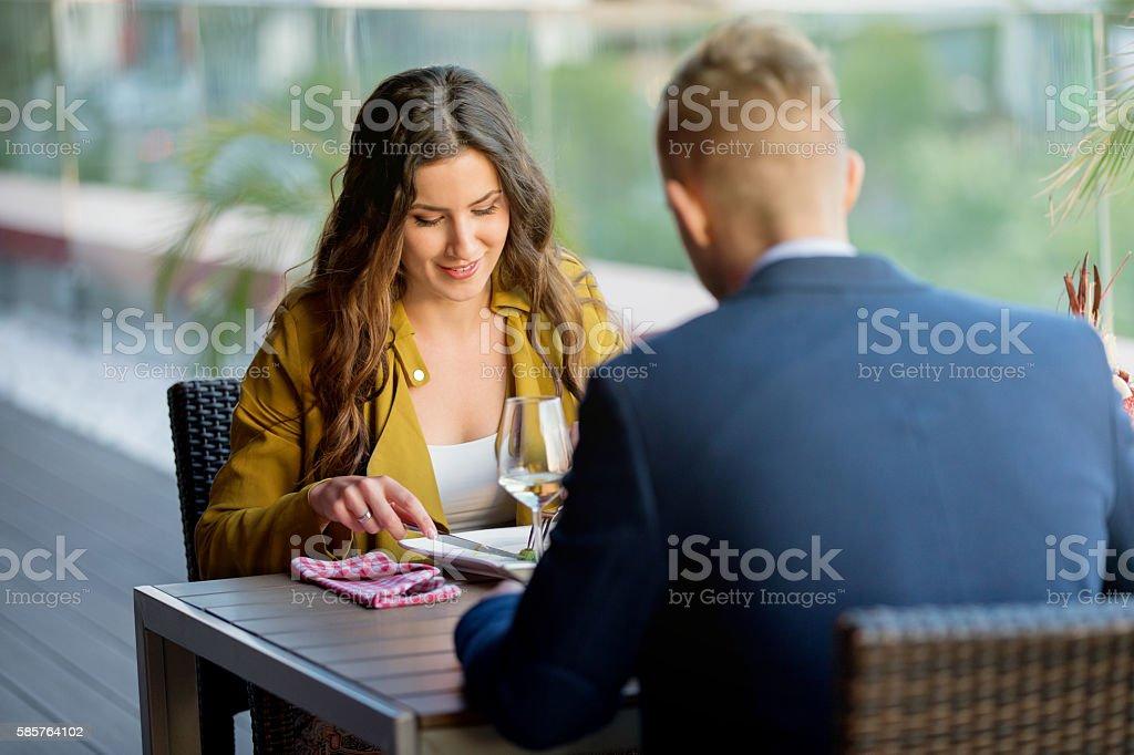 Couple having lunch stock photo