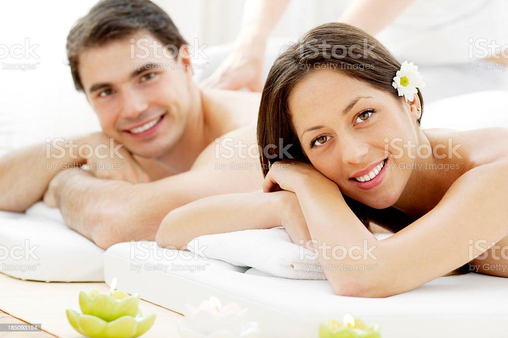 Couple Having Massage At Spa Center royalty-free stock photo