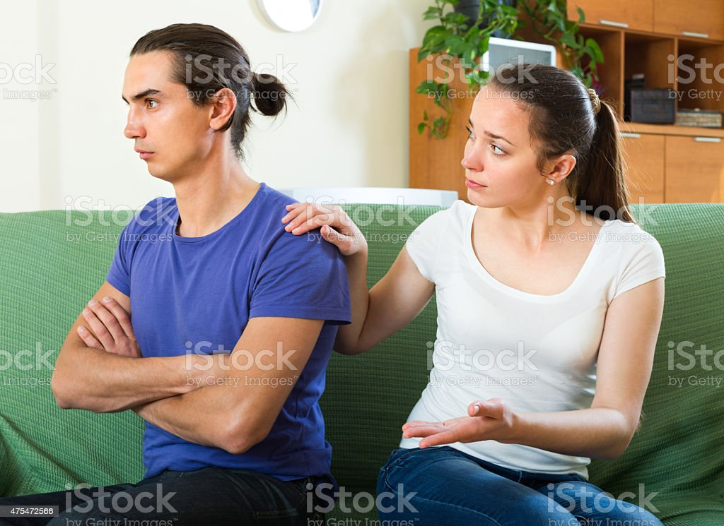 Couple having problems at home stock photo