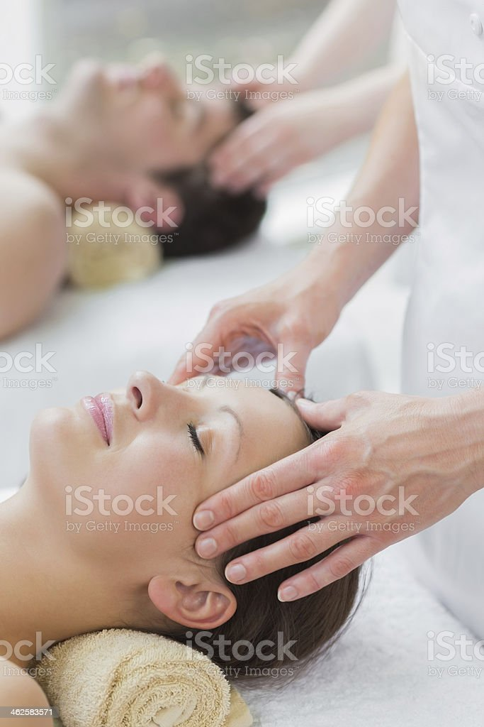 Couple having their heads massaged royalty-free stock photo