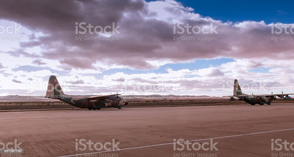 Couple Hercules aircrafts stock photo