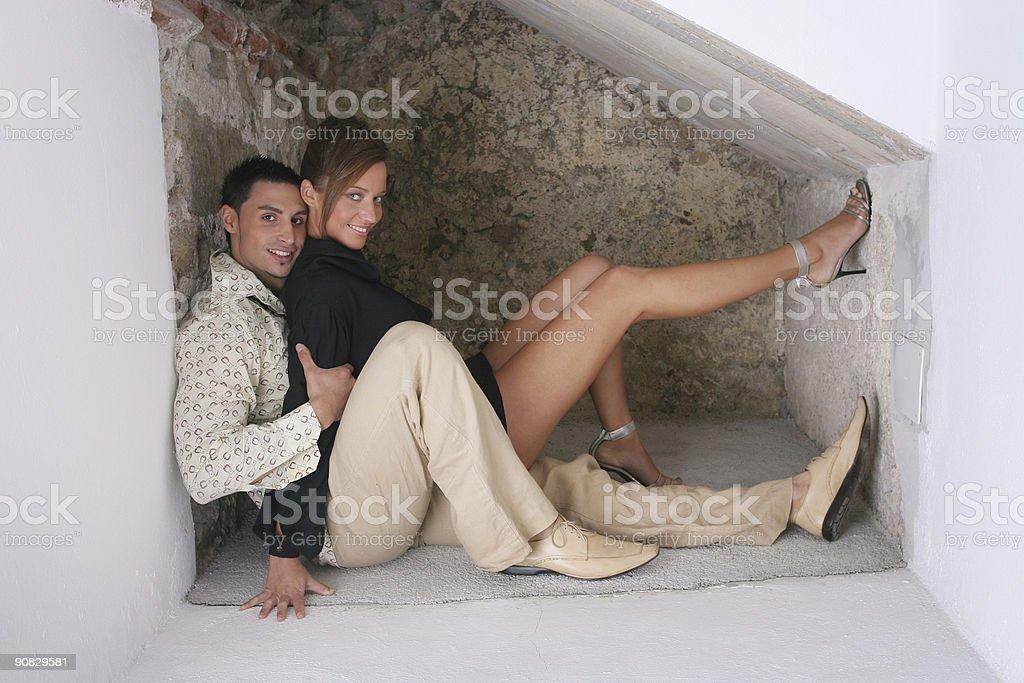 Couple hiding royalty-free stock photo