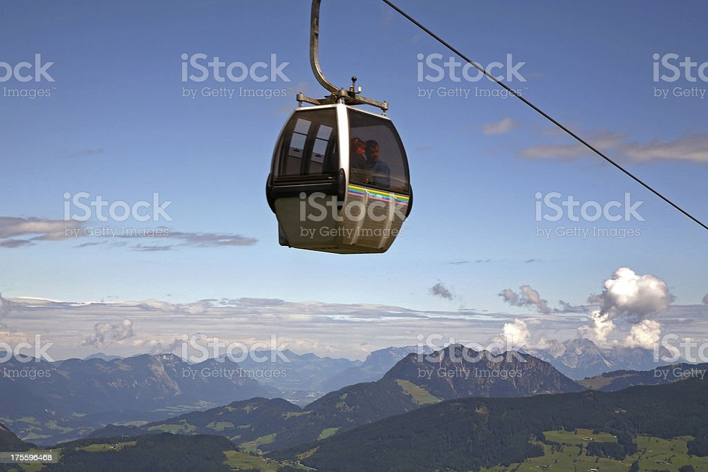 Couple high up in cable car enjoying Austrian alps view royalty-free stock photo