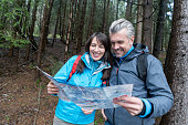Couple hiking and looking at a map