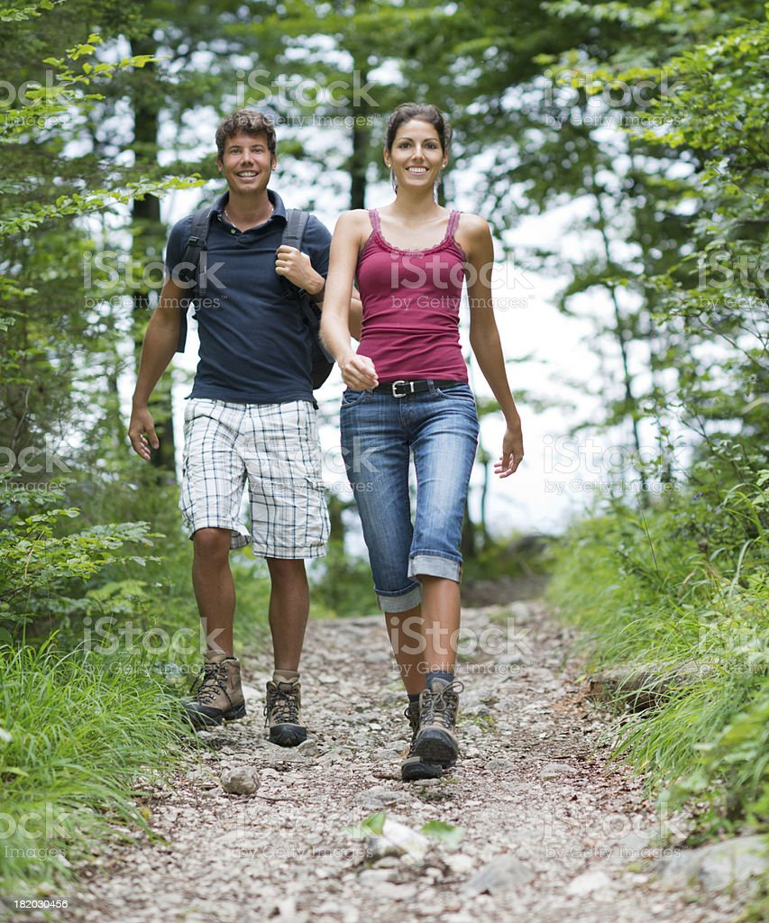 Couple hiking, Austrian Alps (XXXL) royalty-free stock photo