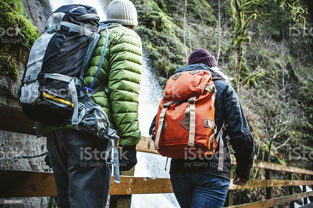 Couple Hiking in Forest Gorge royalty-free stock photo