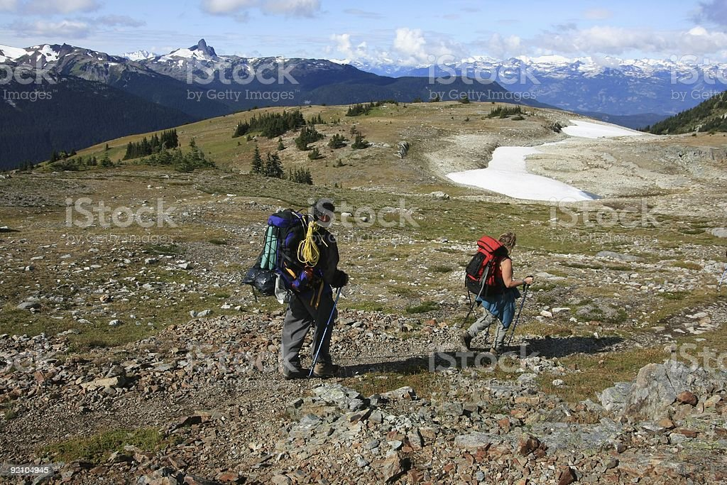 Couple Hiking in Garibaldi Provincial Park royalty-free stock photo