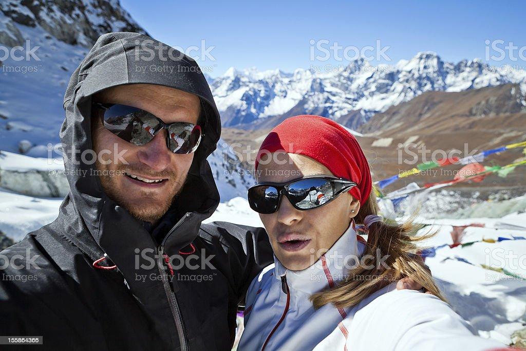 Couple Hiking in Himalaya Mountains, Self portrait royalty-free stock photo