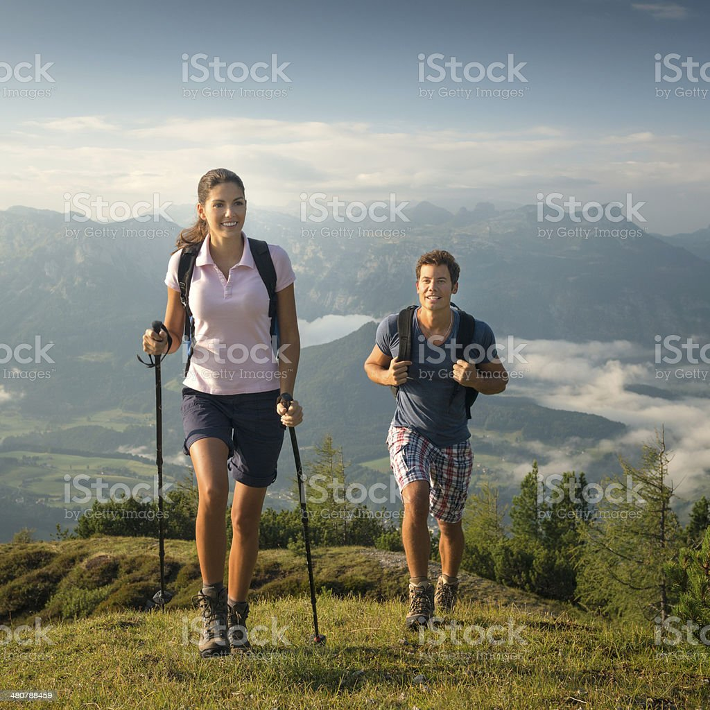 Couple Hiking Outdoor, Leisure Activity stock photo