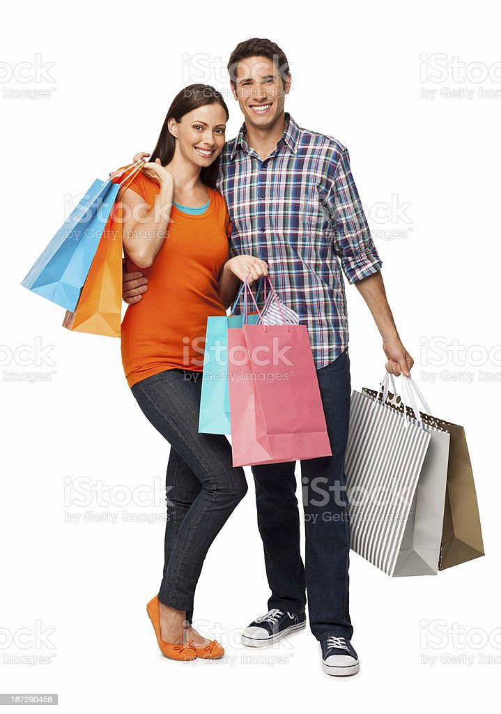 Couple Holding Shopping Bags - Isolated royalty-free stock photo
