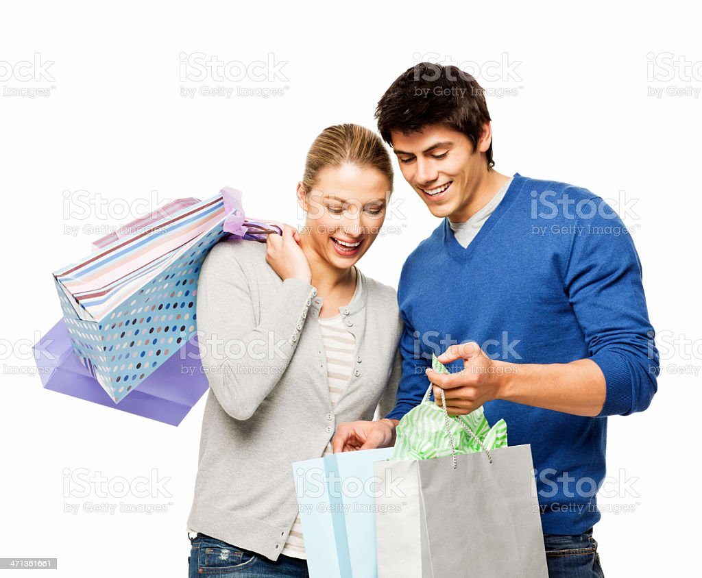 Couple Holding Shopping Bags- Isolated royalty-free stock photo