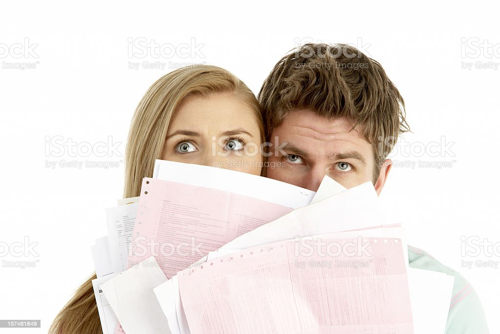 Couple Holding Stack Of Bills royalty-free stock photo