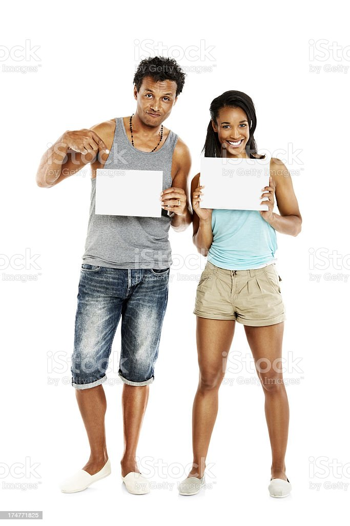 Couple holding two blank billboard royalty-free stock photo
