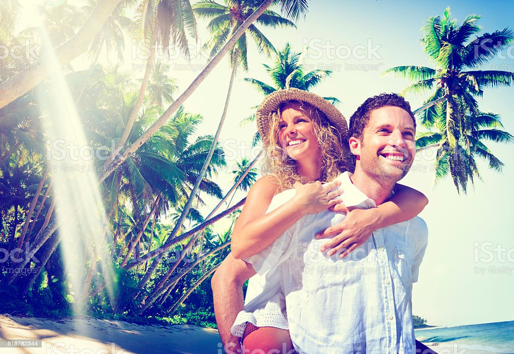 Couple Honeymoon Tropical Beach Romantic Concept stock photo