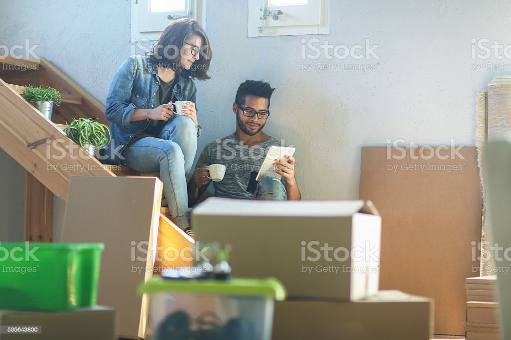 Couple house moving stock photo