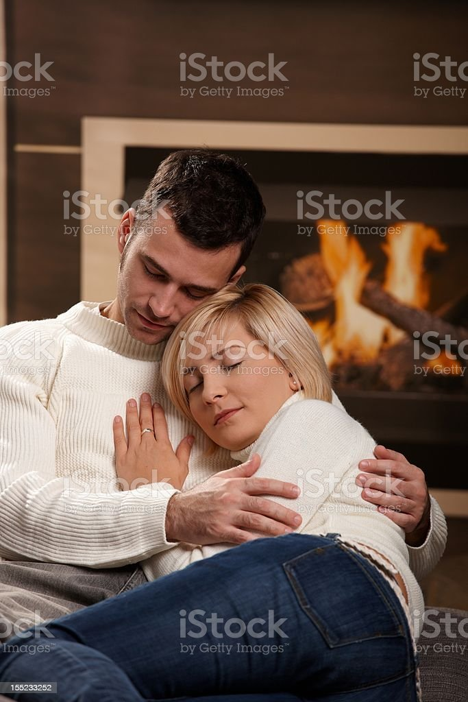 Couple hugging home royalty-free stock photo