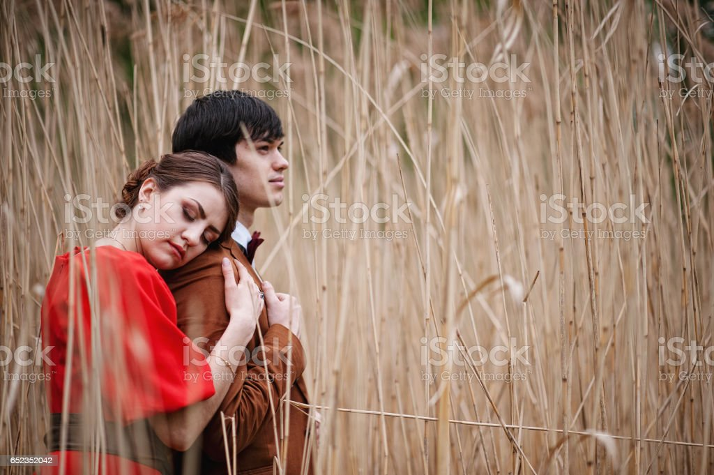 Couple hugging in love at high cane. Stylish man at velvet jacket and girl in red dress in love together stock photo