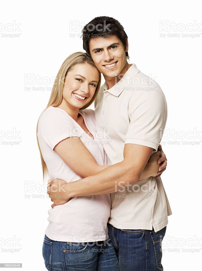 Couple Hugging - Isolated royalty-free stock photo