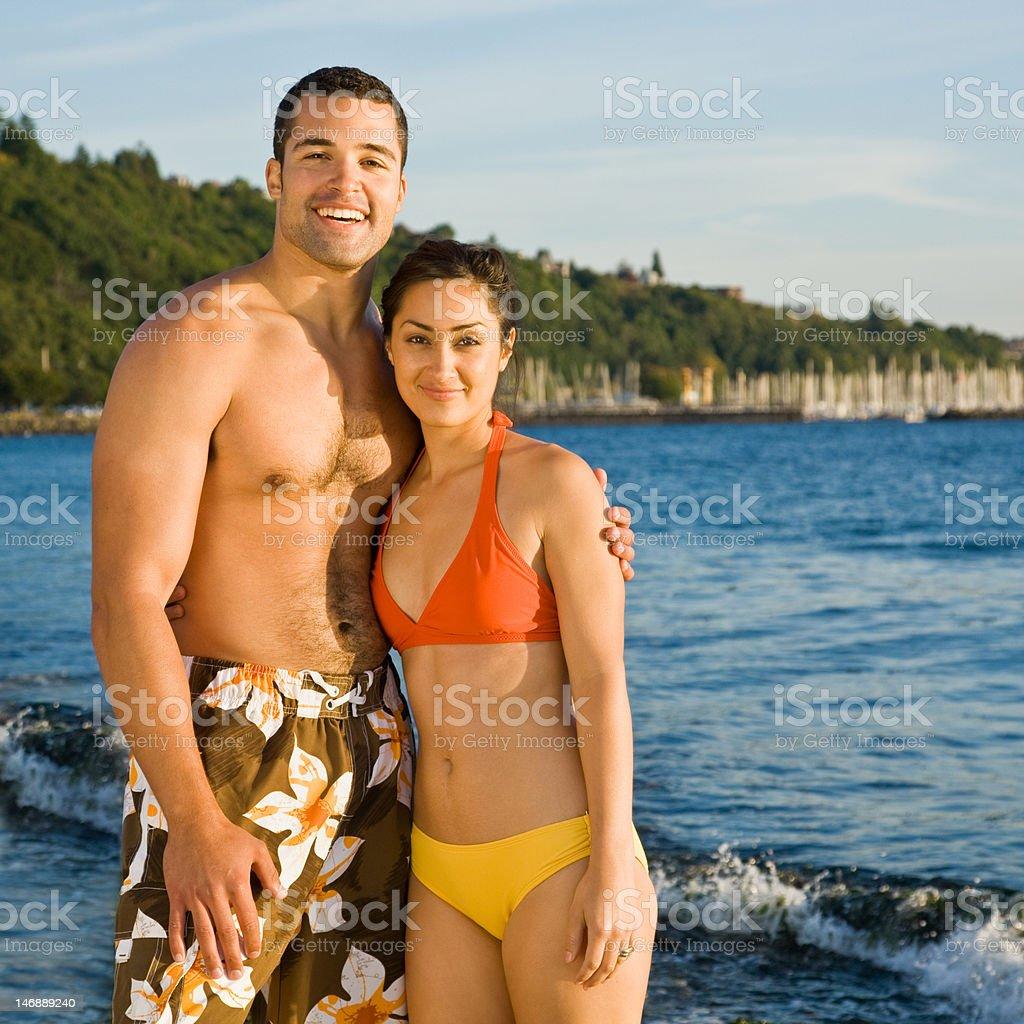 Couple Hugging on Beach royalty-free stock photo