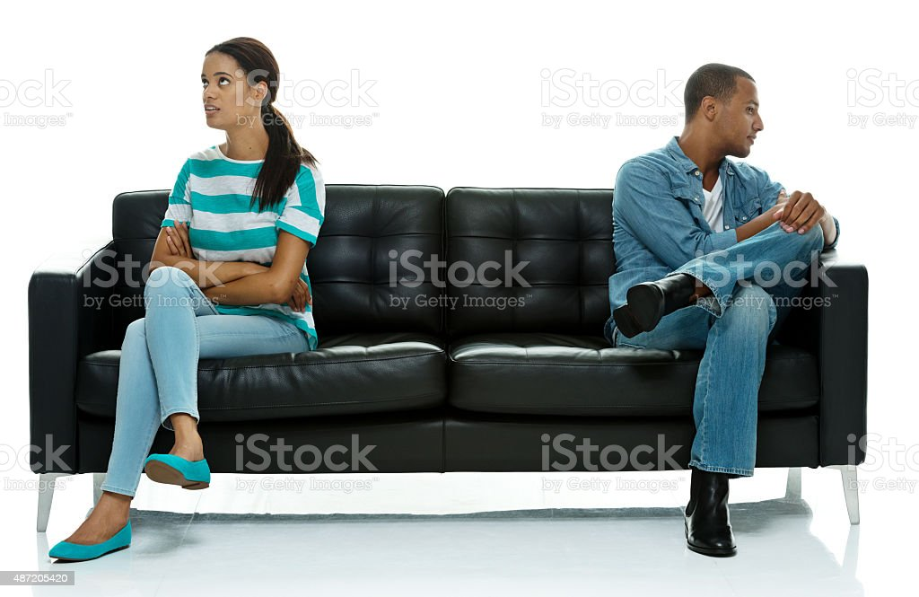Couple ignoring each other stock photo