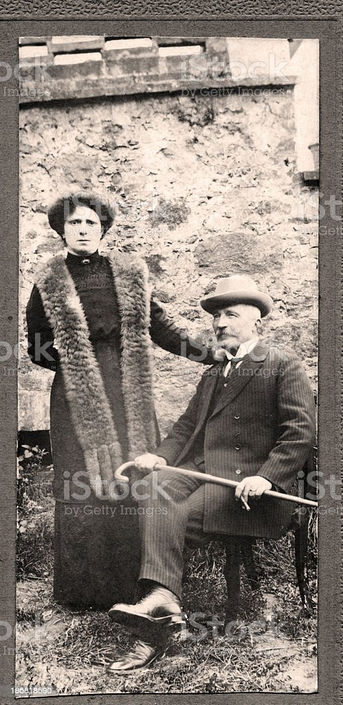 Couple in 1910.Sepia Toned. stock photo