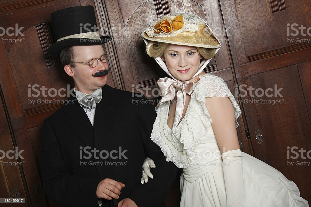 Couple in 19th century garment royalty-free stock photo