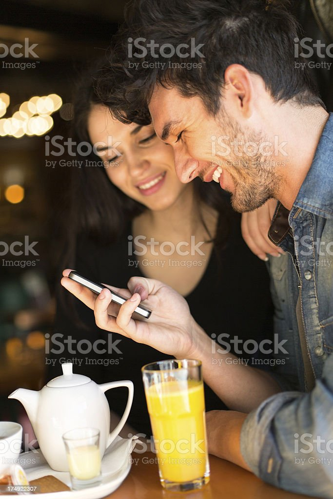 Couple in a cafe royalty-free stock photo