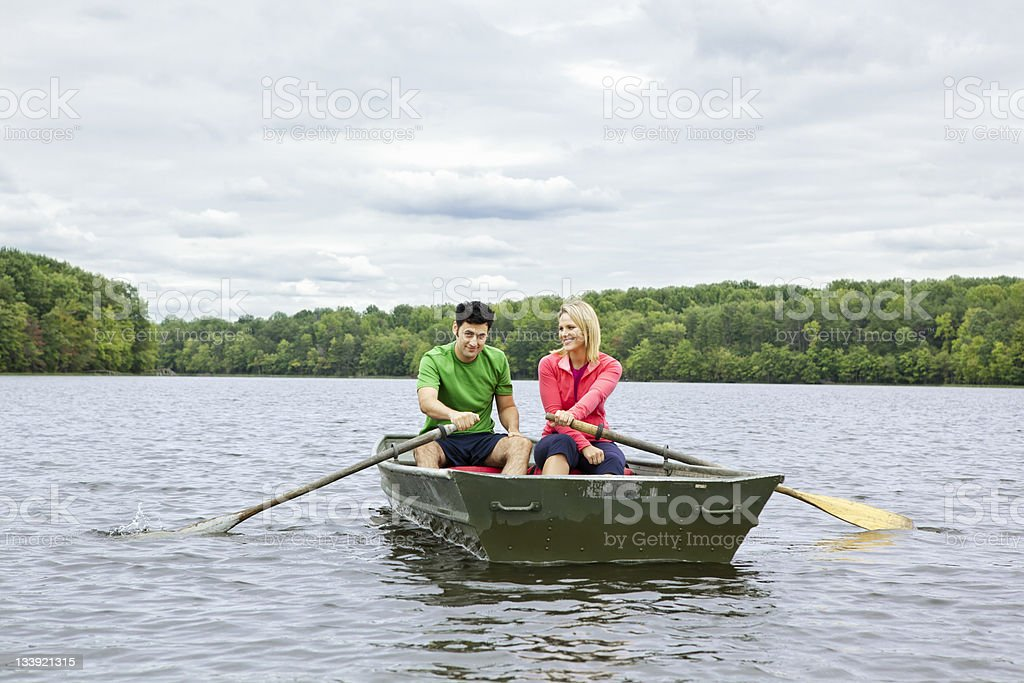 Couple in a Canoe stock photo