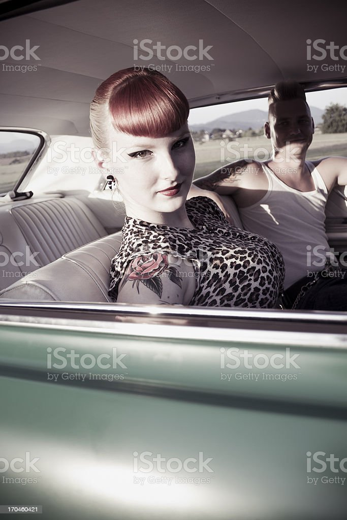couple in a car stock photo