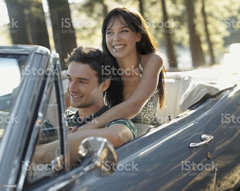 A couple in a car royalty-free stock photo