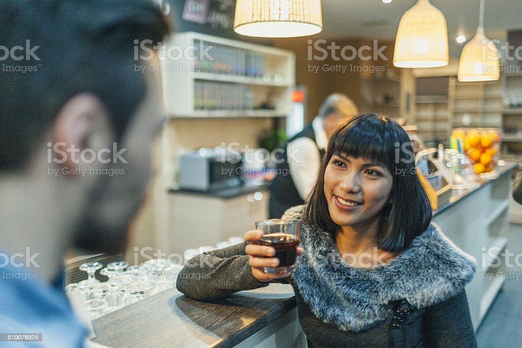 Couple in a coffee shop stock photo
