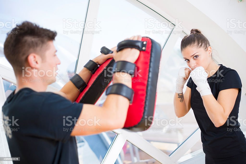 Couple in a gym stock photo