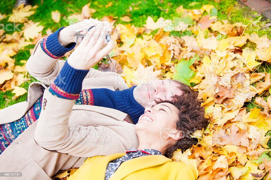 Couple in a London`s park royalty-free stock photo