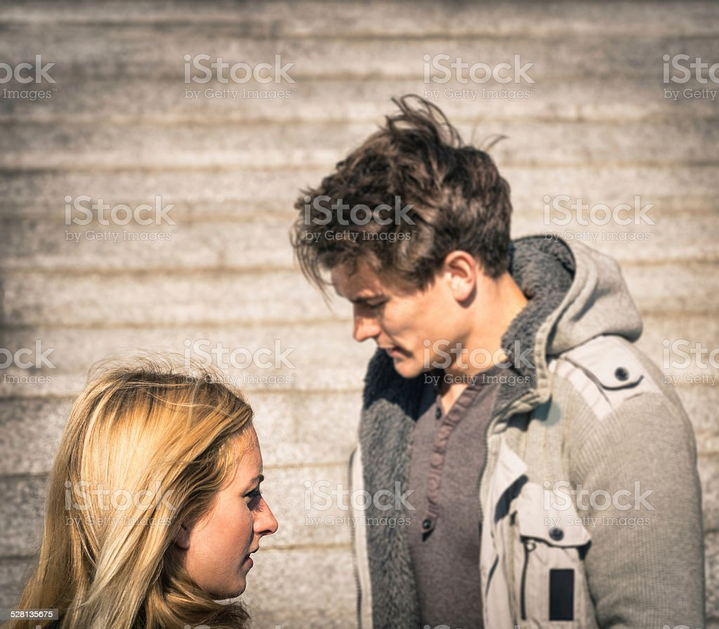 Couple in a moment of troubles during break up phase stock photo