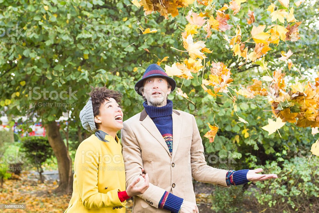 Couple in a park in autumn stock photo