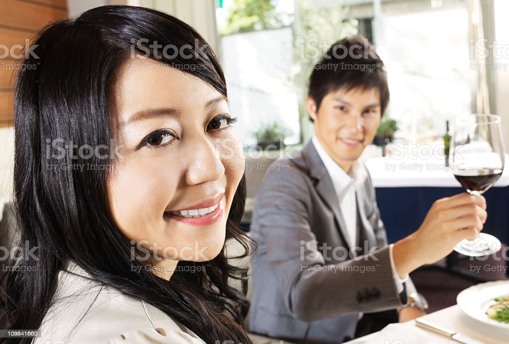 couple in a restaurant royalty-free stock photo