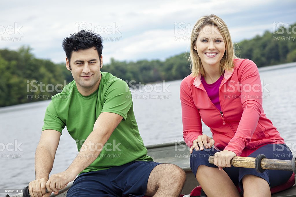 Couple in a Rowboat royalty-free stock photo