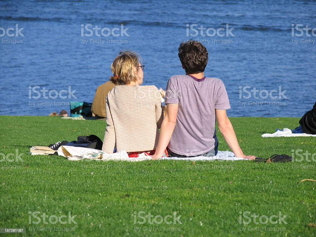 Couple in a Sunny Park royalty-free stock photo