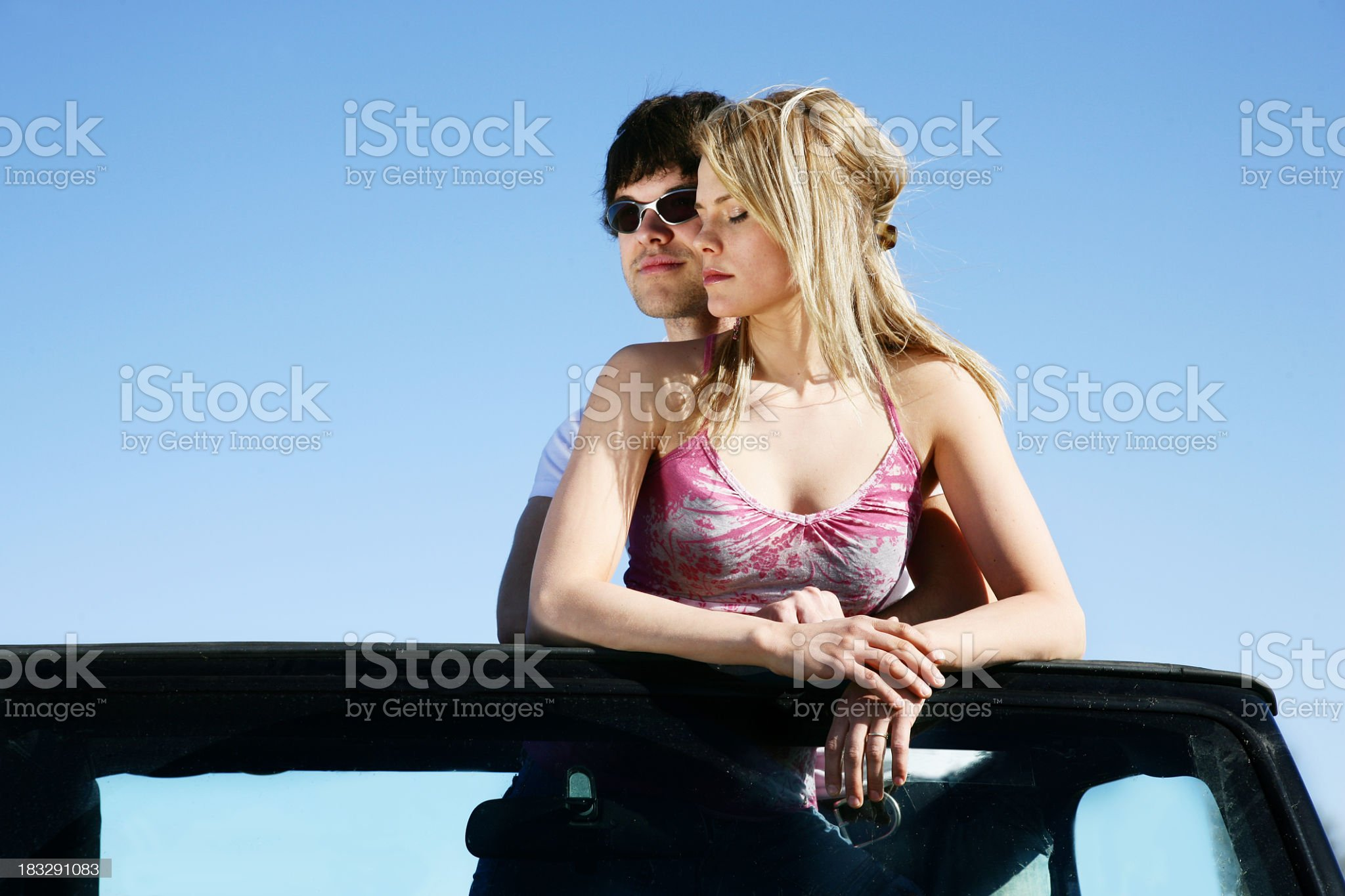 Couple in a vehicle royalty-free stock photo
