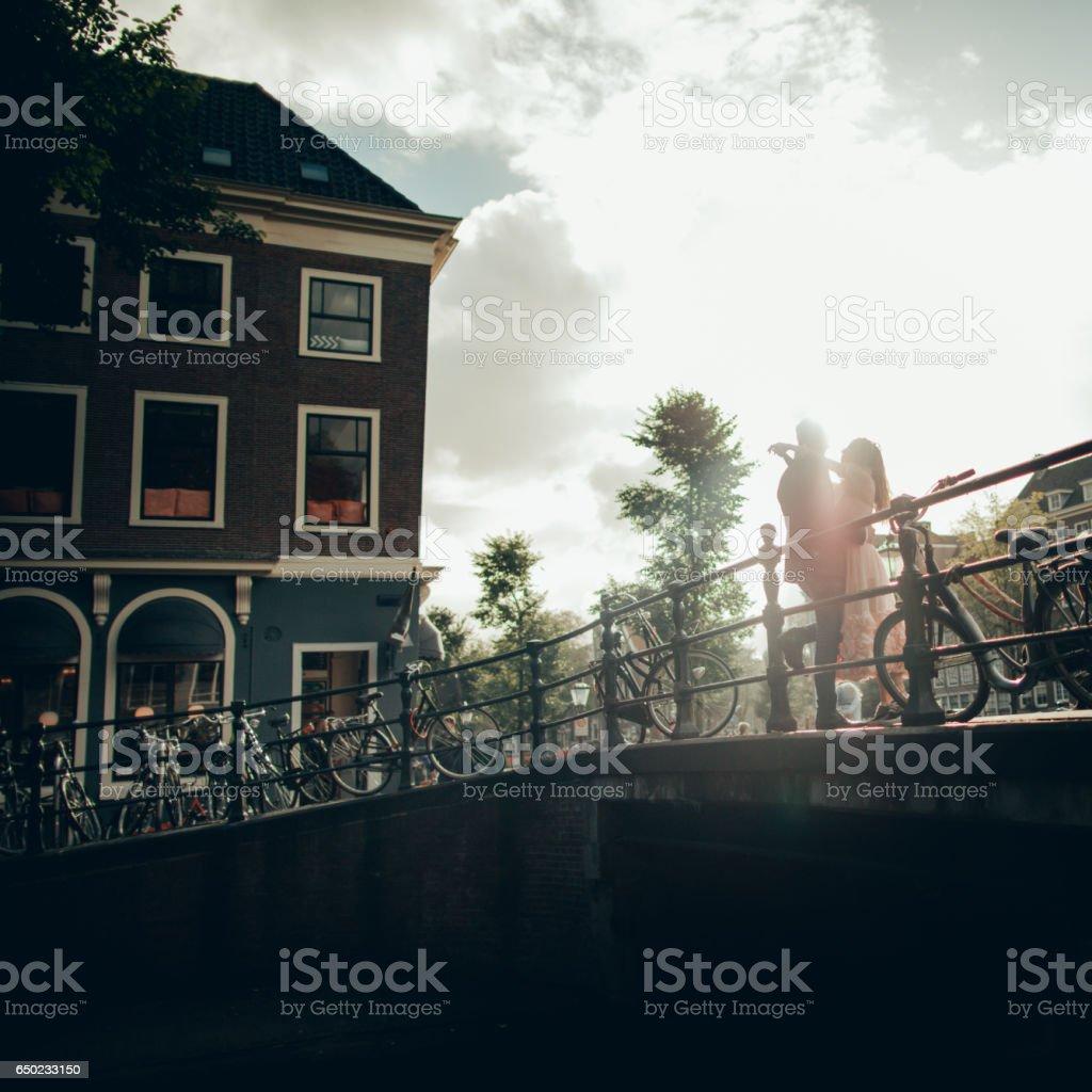 Couple in Amsterdam stock photo