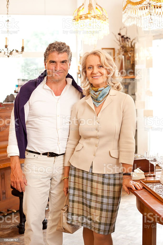 Couple in an Antique Store stock photo