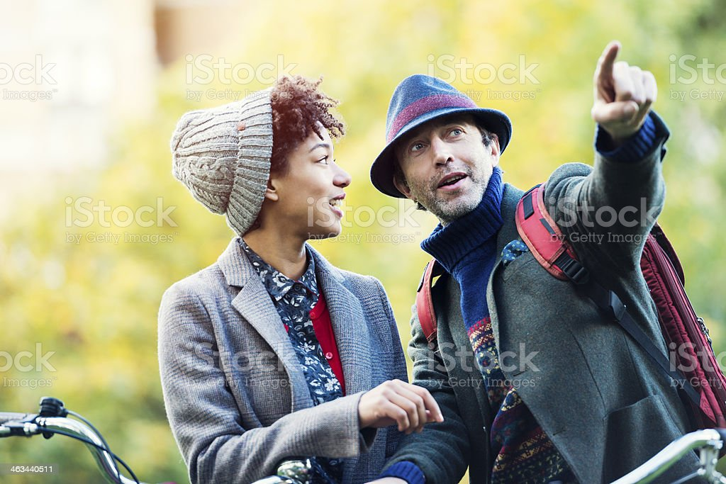 Couple in an Autumn Park royalty-free stock photo