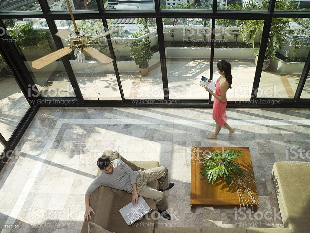 Couple in apartment royalty-free stock photo