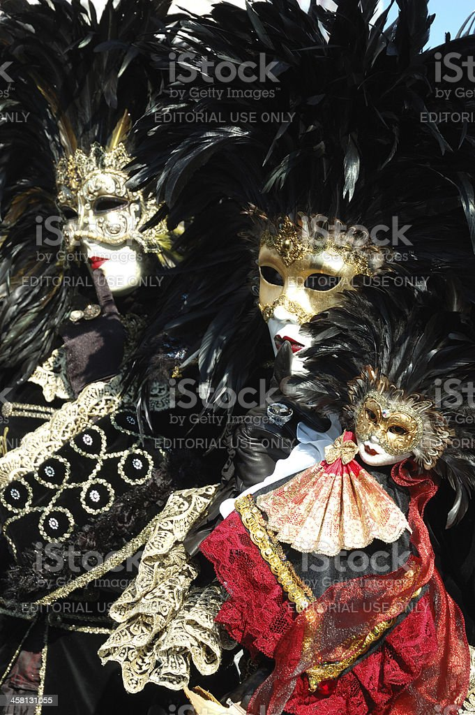 Couple in bird's costume at Venice carnival,2011 royalty-free stock photo