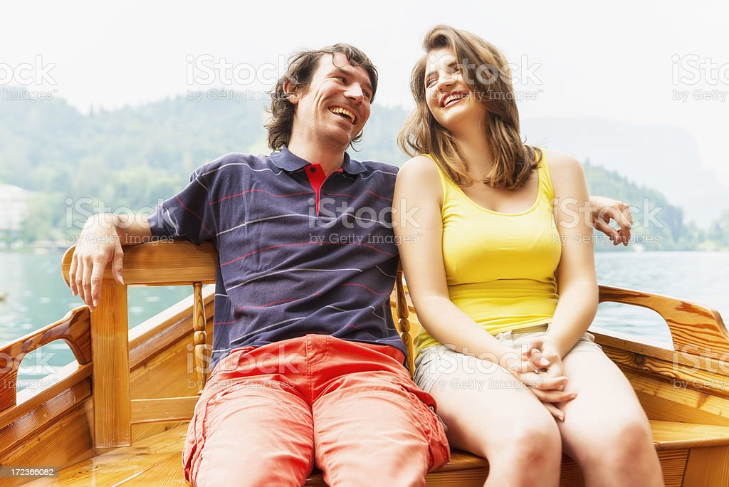 Couple in boat royalty-free stock photo